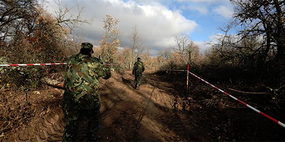 Alcune guardie di confine controllano la situazione presso il nuovo filo spinato di recinzione tra Bulgaria e Turchia | © AP Photo/Valentina Petrova