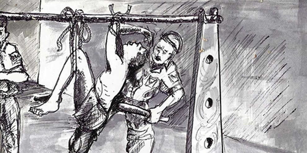 Disegno di Chjioke Ugw Clement di una scena di tortura | © Chijioke Ugwu Clement