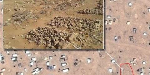 Dettaglio delle tombe lungo il confine siro-giordano © CNES 2016, Distribution AIRBUS DS