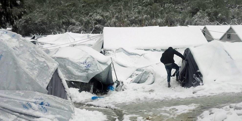 Rifugiati nel campo di Moria, a Lesbo. © Giorgos Kosmopoulos