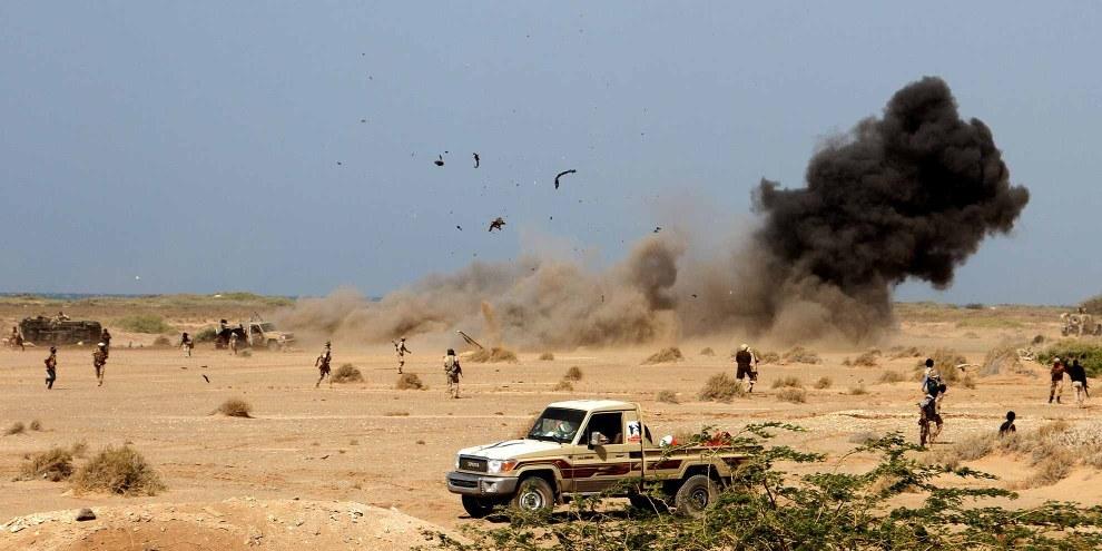 Esplosione di una mina vicino alla città portuale di Mocha, vicino al Mar Rosso © AFP/Getty Images