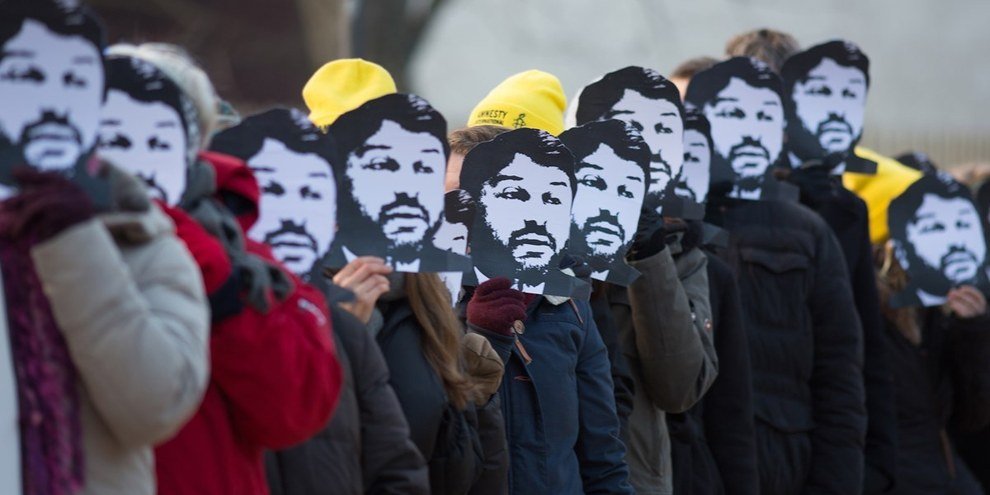 Una delle tante azioni a sostegno di Taner Kiliç, qui a Berlino, il 7 febbraio 2018. ©Amnesty International/photo: Jarek Godlewski