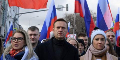 Aleksei Navalny durante una marcia organizzata in ricordo di Boris Nemtsov, il 29 febbraio 2020 in Russia. © Kirill KUDRYAVTSEV / AFP