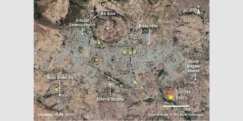 Una panoramica di Axum mostra le aree principali della città. Le strutture danneggiate dai bombardamenti e dagli attacchi aerei sono indicate da marcatori arancioni. Le aree con detriti significativi, probabilmente a causa di saccheggi, sono indicate da marcatori gialli.©google